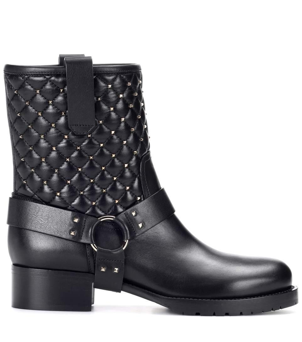 49830f6d3ec Flat Booties Rockstud Spike Biker Ankle Boots In Leather With Studs in Black