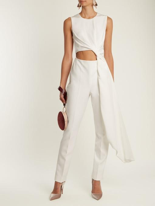 fb0120531a9 Roksanda Thurloe Draped Cutout Jersey And Crepe Jumpsuit In Ivory ...