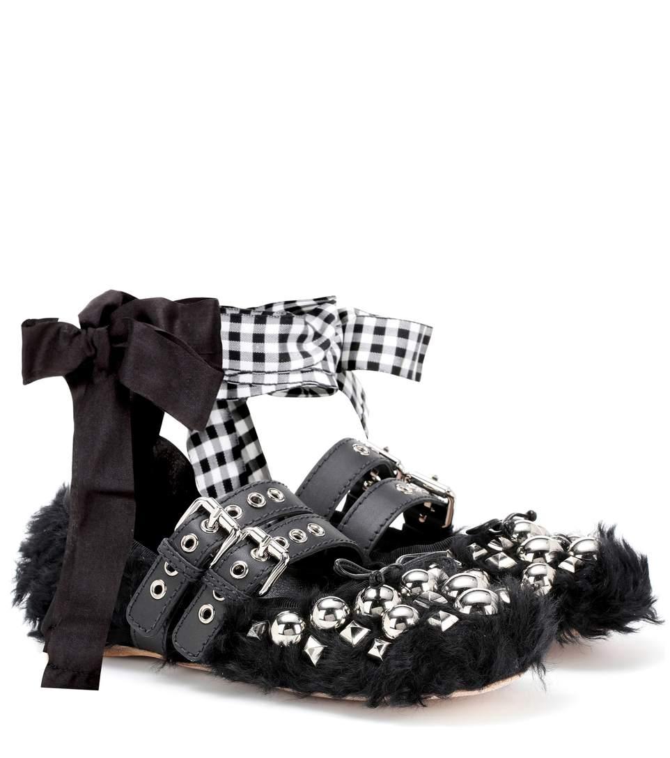 9b637655a7f Miu Miu Black Eco Shearling Double Buckle Ballerina Flats