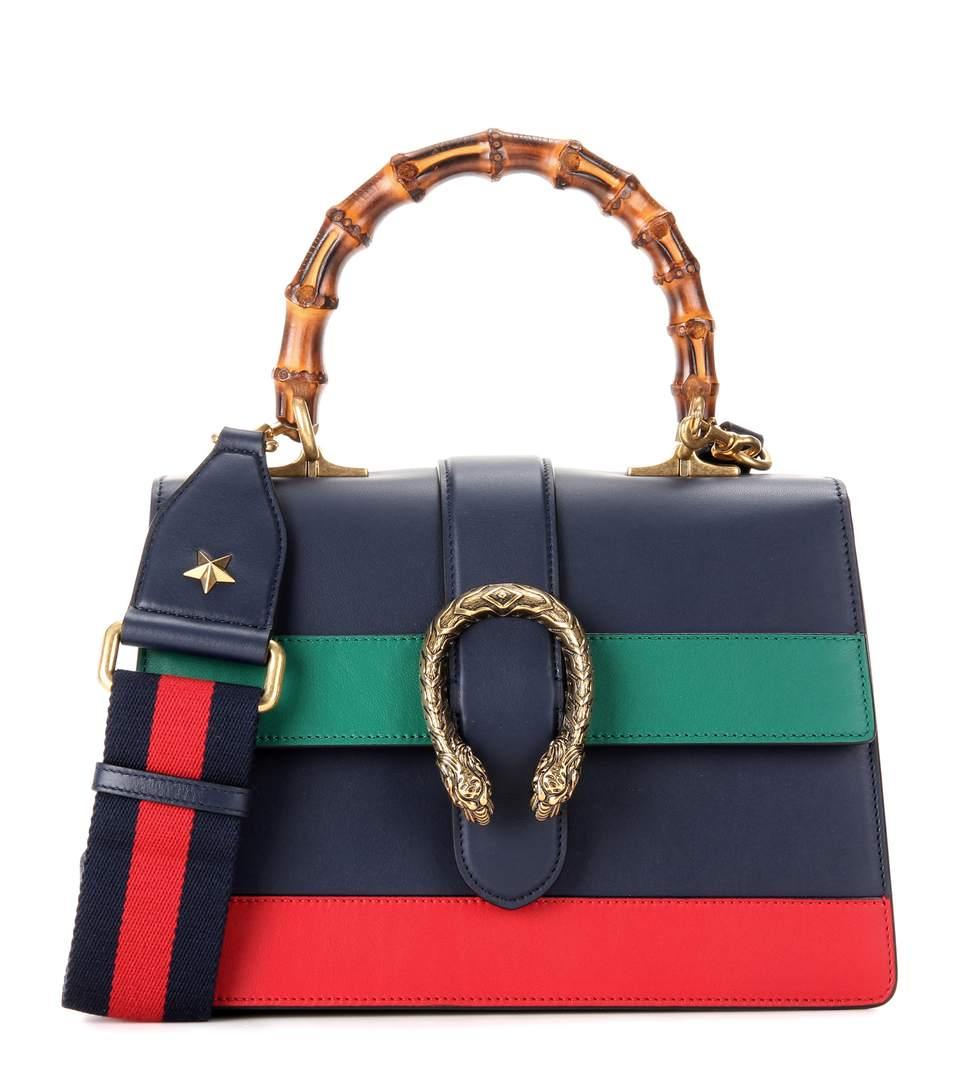 d9ddb2ebf6cc Gucci Dionysus Bamboo Medium Leather Shoulder Bag In Blue   ModeSens