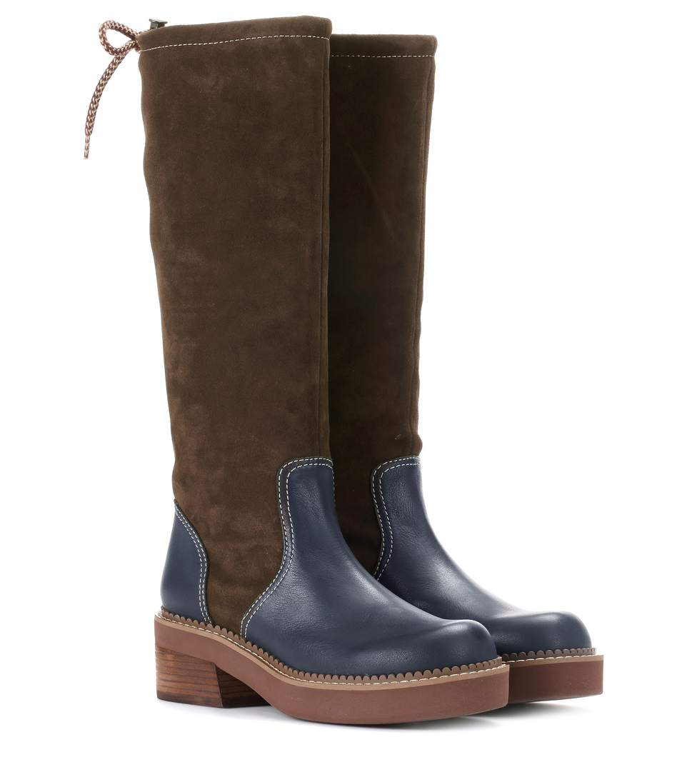 1960bc1afe Dominika Suede And Leather Knee-High Boots in Brown