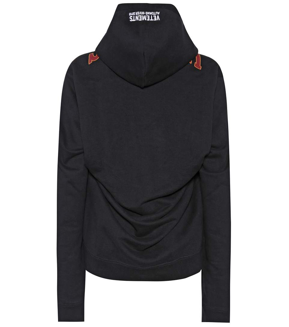 55c3312b Logo Printed Hooded Cotton Sweatshirt in Black