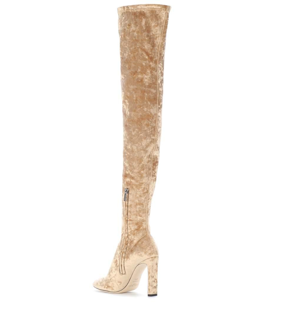 67af1224f3cc Jimmy Choo Lorraine 100 Velvet Over-The-Knee Boots In Gold