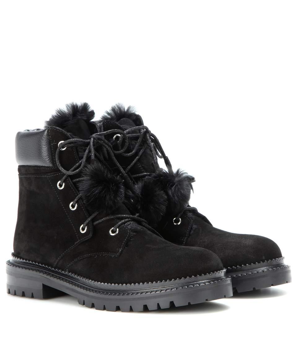 a978dec91910 Jimmy Choo Elba Flat Black Suede Boots With Rabbit Fur Lining