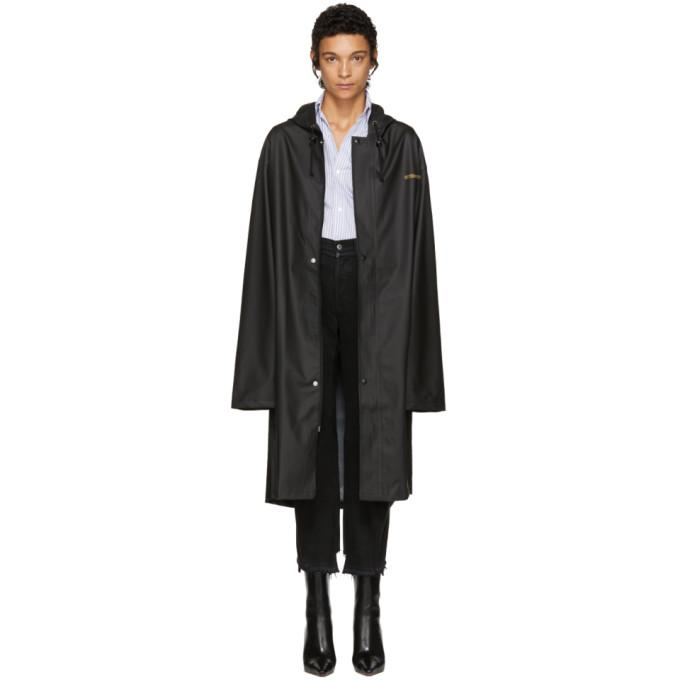 Vetements Oversized Hooded Printed Cotton-jersey Coat In Black