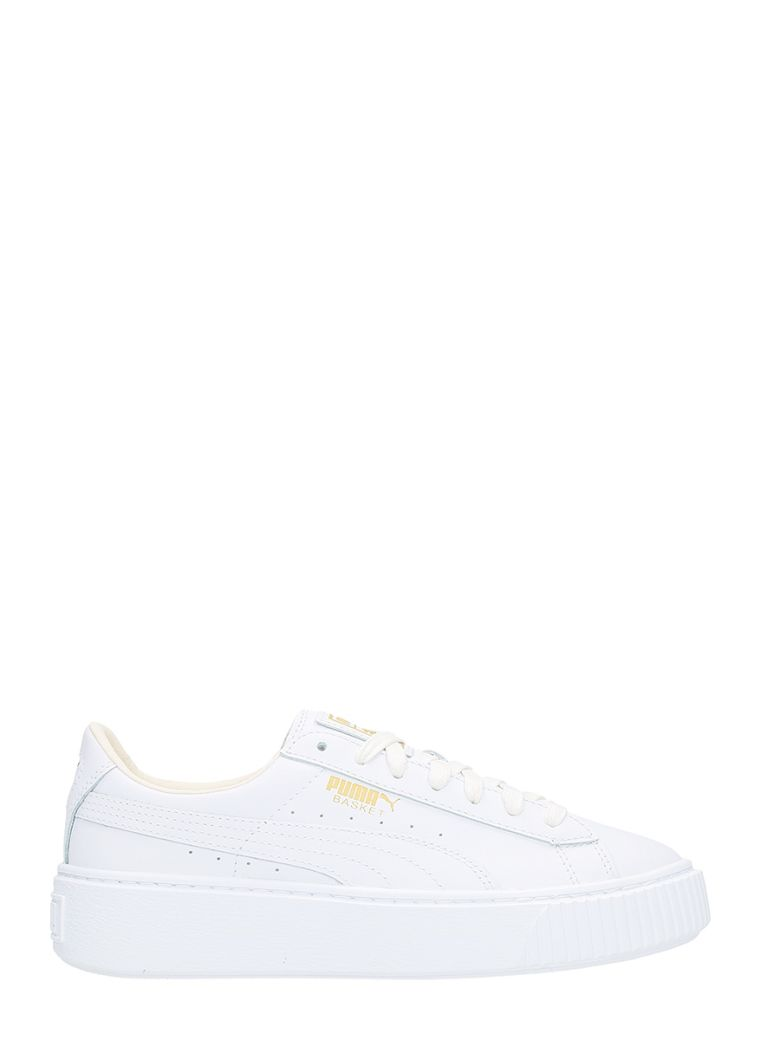 Basket Platform White Leather Sneakers In White/ Gold