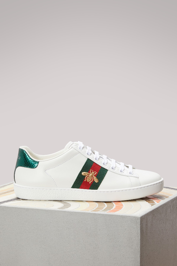1247ff8cc09 Gucci Ace Watersnake-Trimmed Embroidered Leather Sneakers In White ...