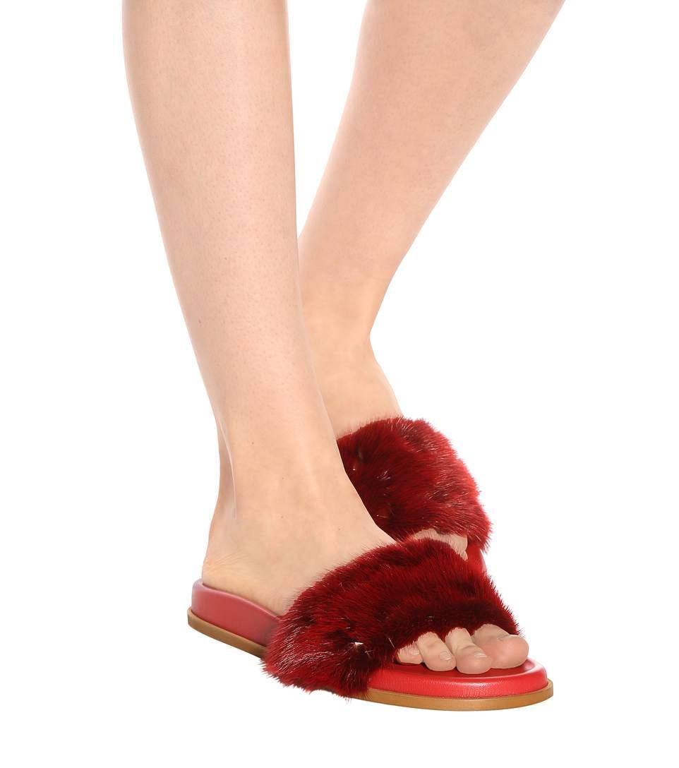 Valentino Rockstud Flat Fur Slide Sandals In Red