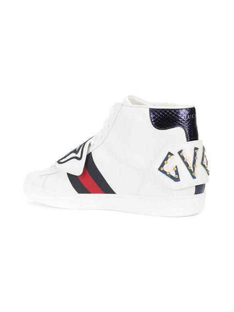 Gucci Men's Leather Ace High-Top Sneakers With Removable Embroideries In White