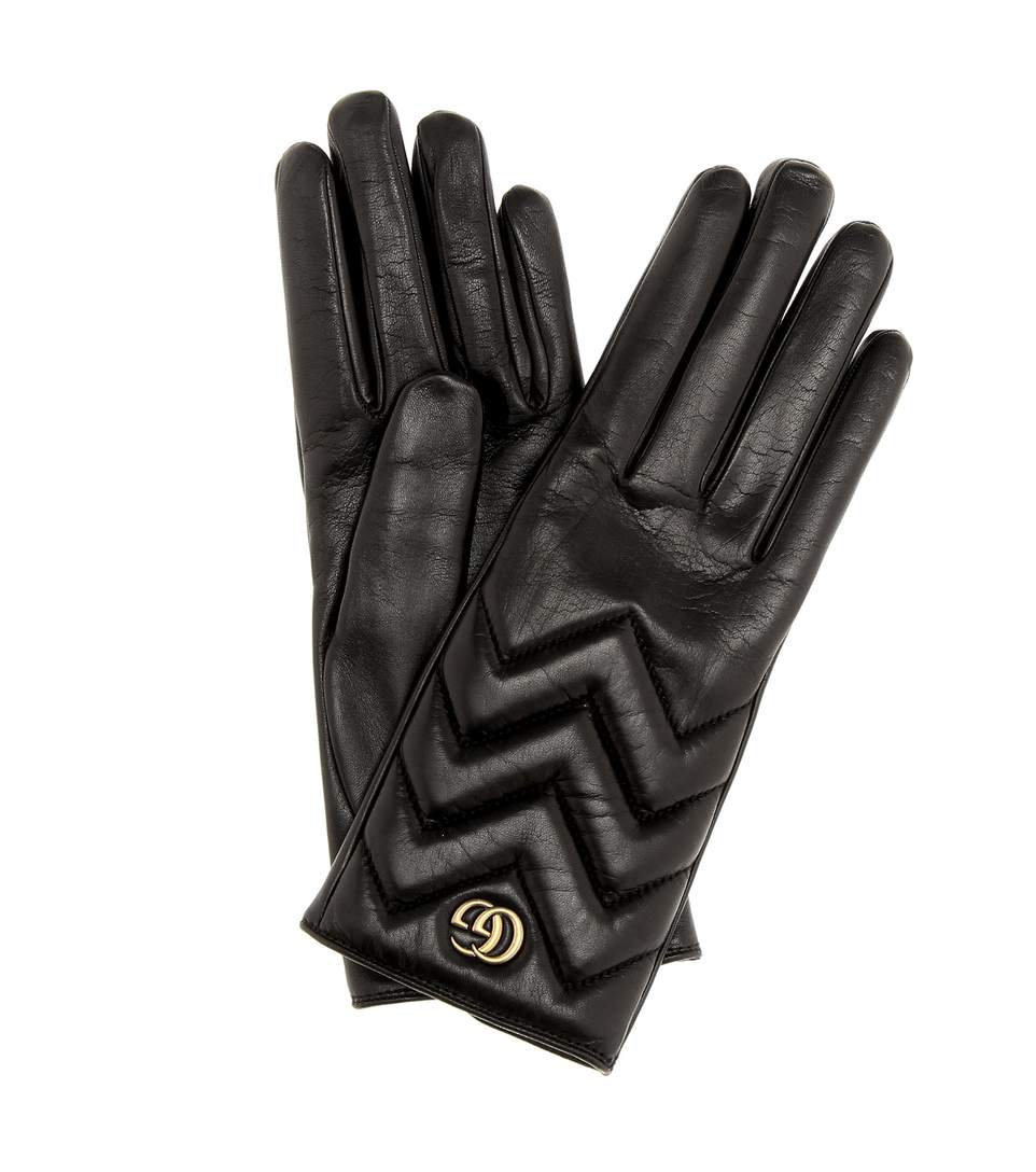 Gucci Gg Marmont Chevron Quilted Leather Gloves In Black