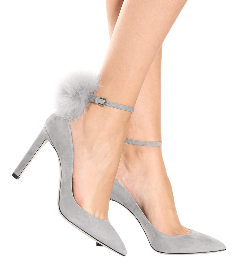 31147c3f7c0 Jimmy Choo South 100 Moonstone Suede Pumps With White Fox Fur Pom Poms In  Grey