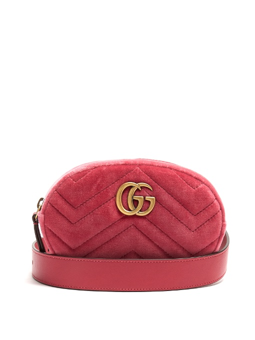 80461697a Gucci Gg Marmont Quilted-Velvet Belt Bag In Colour: Honeysuckle-Pink ...