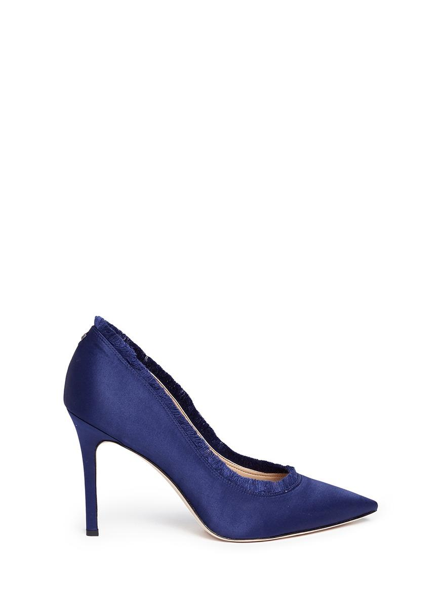 125aafcbf3cc Sam Edelman Halan Satin Fringe Pointed Toe Pumps In Poseidon Blue Satin Lux  Fabric