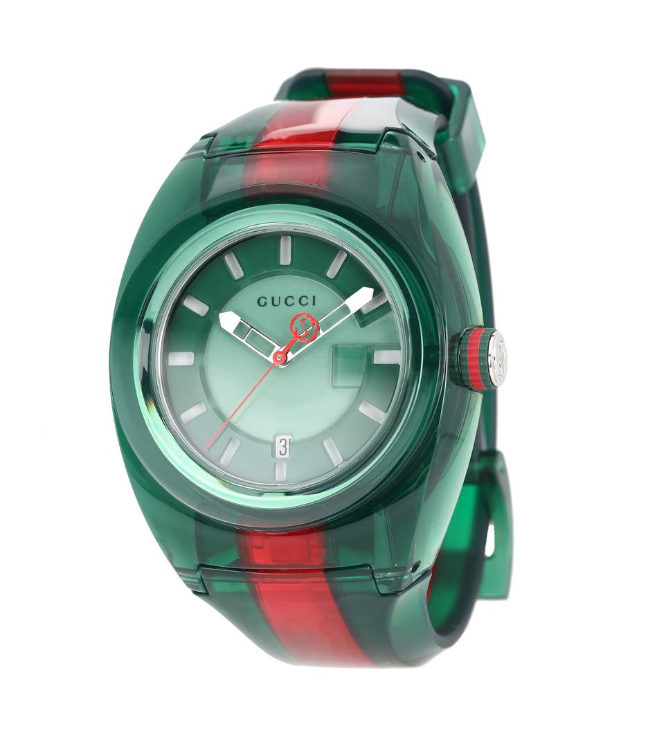 f06e8bc423b Gucci Watch Sync Watch Web Case In Transparent Pvc In Green