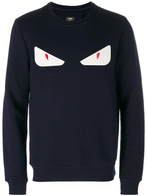 529b4bc6a6 Fendi Embellished Sweatshirt In Wool And Cotton With Leather Eyes In Blue