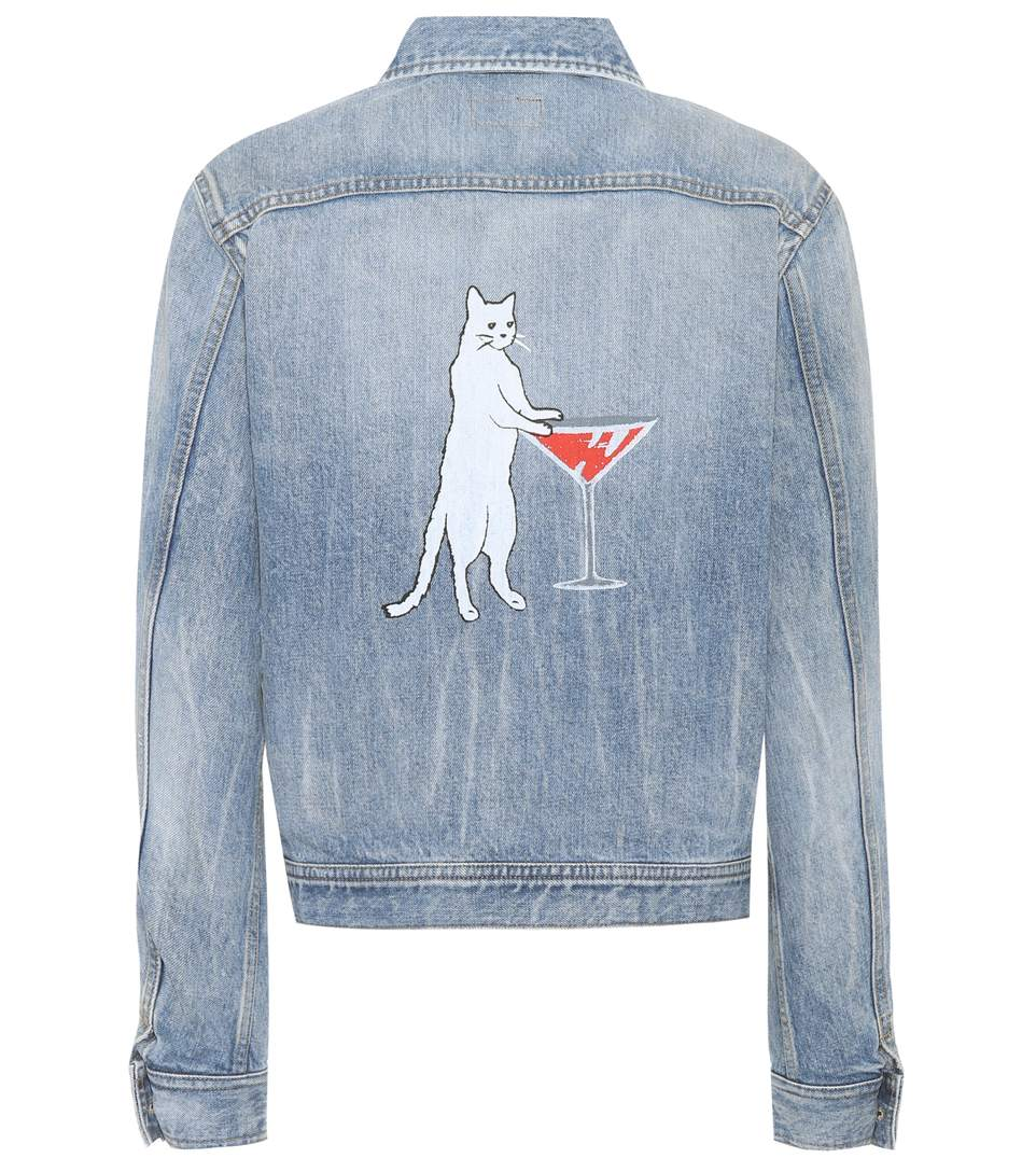 6adc4514c5 Original Ysl Military Patch Jean Jacket In Washed Blue Shadow Denim