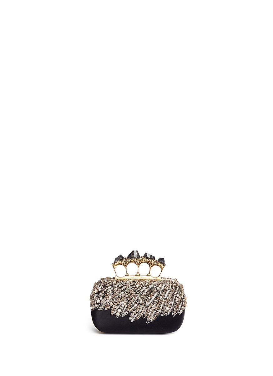 eba8708b9bec Alexander Mcqueen Swarovski Crystal Eagle Wing Satin Pyrite Stone Knuckle  Clutch In Black Multi