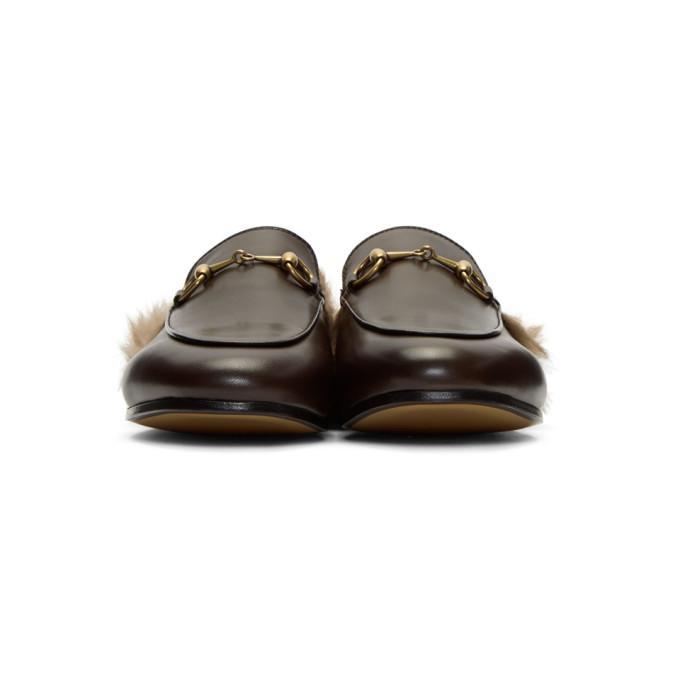 85f59441fe3 Gucci Princetown Fur Slippers In 2060 Fondente Natura