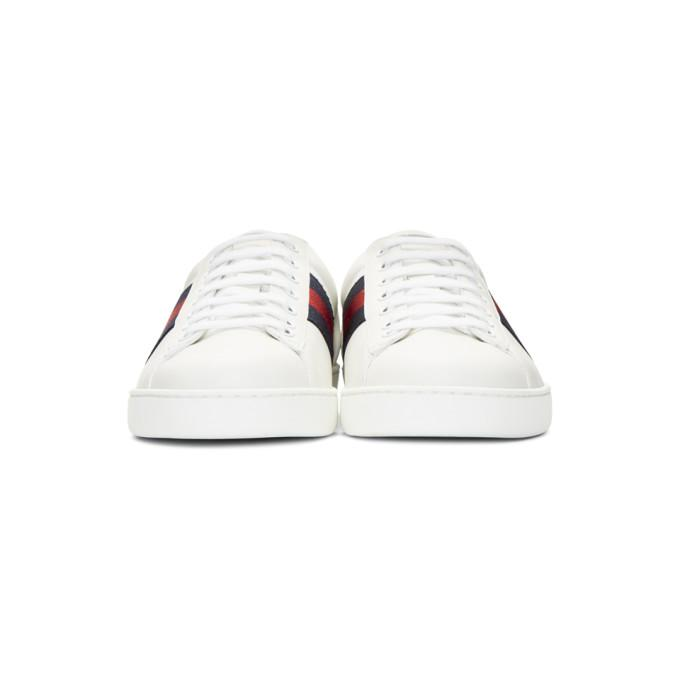 Gucci New Ace Hanging Tiger Leather Low-Top Sneaker, White