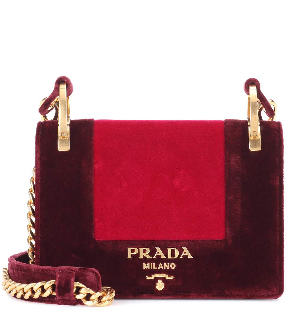 47d2bf3af382 Prada Patina Velvet Bicolor Shoulder Bag In F0Bwq Ribes Amarena ...