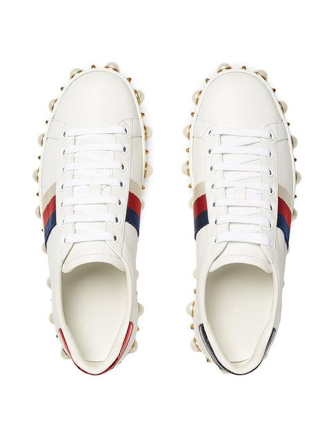 Gucci New Ace Faux-Pearl Embellished Leather Trainers In 9075 White