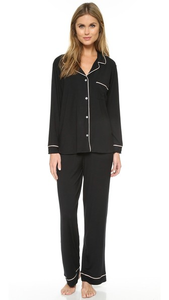 Eberjey Gisele Long Pajama Set, Black In Black/sorbet Pink