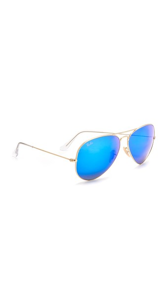 6707484a9 Ray Ban Rb3025 Oversized Classic Aviator Mirrored Sunglasses In Gold/Blue