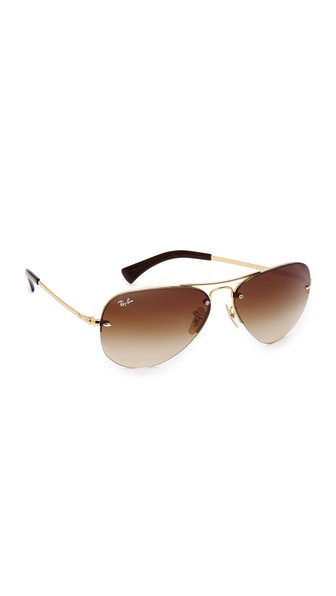 fab9d0f1b Ray Ban Rb3449 Classic Aviator Rimless Gradient Sunglasses In Arista Gold /Brown