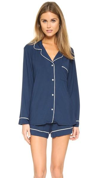 ee17635fdbf Eberjey Gisele Short Sleeve Long Pant Pajama Set In Navy Ivory ...