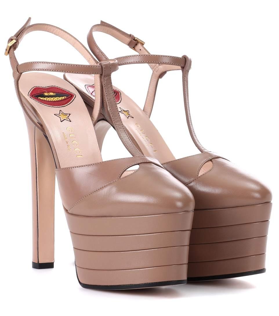 2f19ebae0223 Gucci Porcelain Rose Leather Platform Pumps  In Neutrals