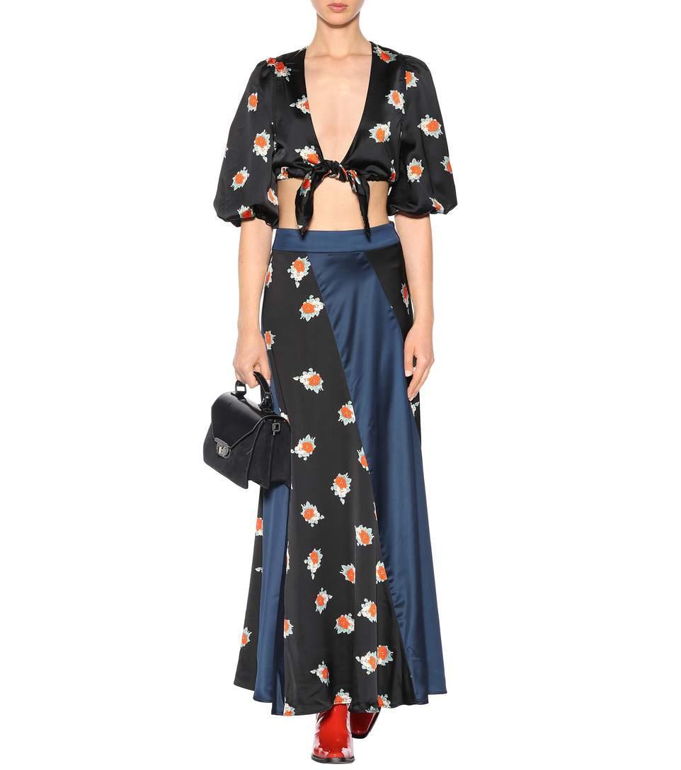 9be4f133 Ganni Glenmore Floral-Printed Crop Top In Black | ModeSens