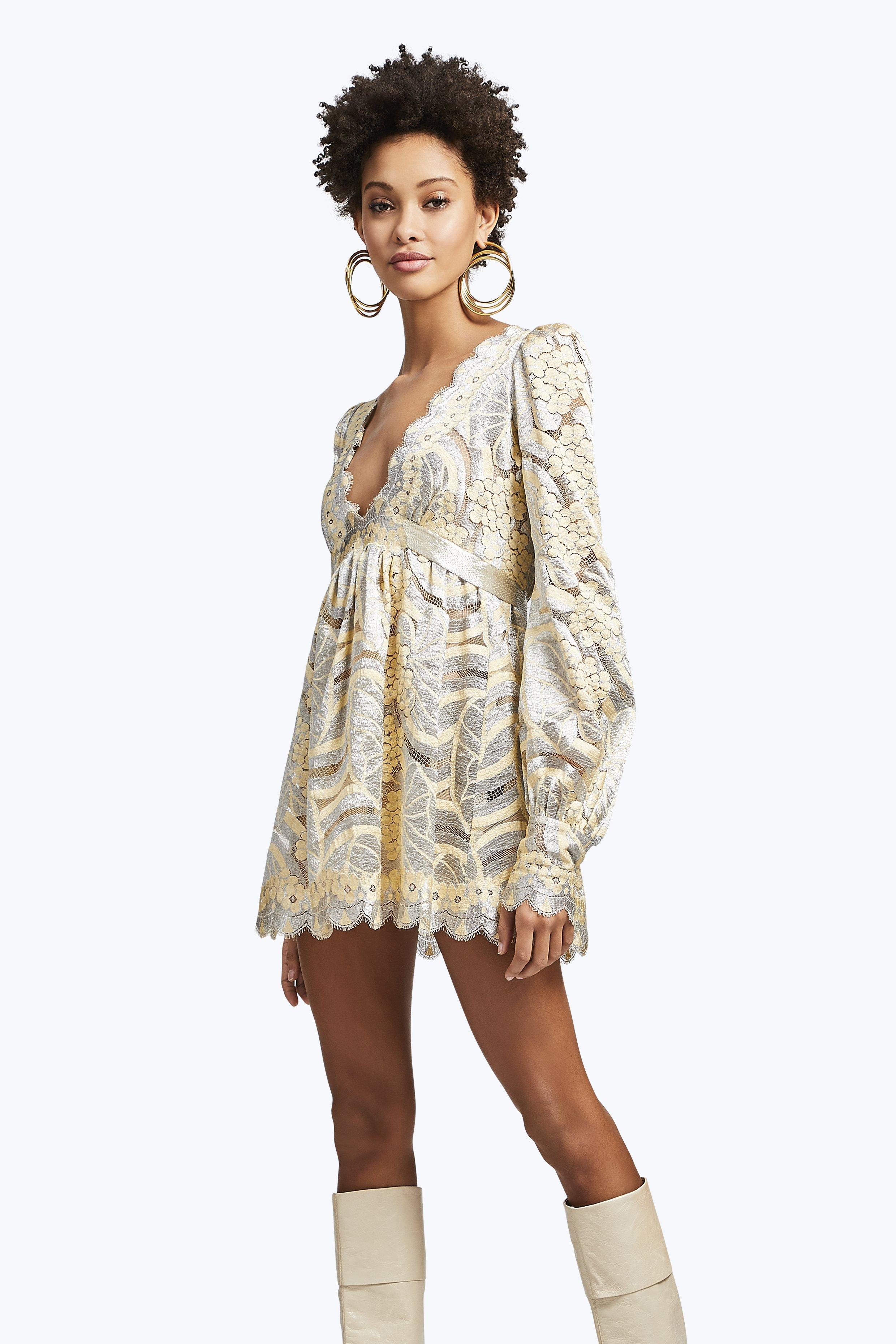 Marc Jacobs Long Sleeve Lace Mini Dress In Beige