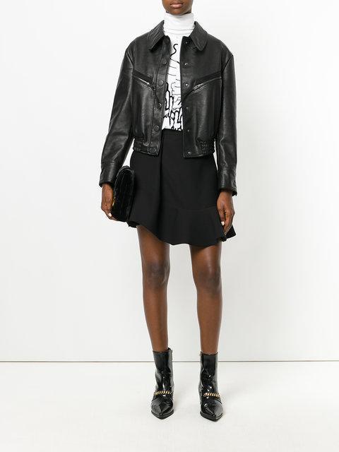 Stella Mccartney Faux Leather Bomber Jacket Black