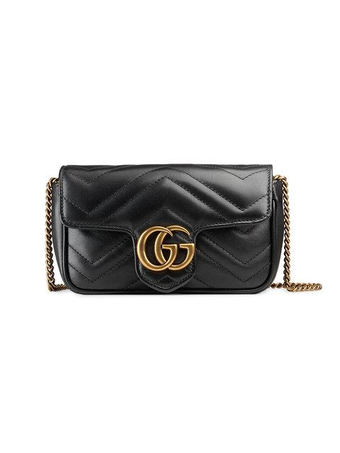 Gucci Supermini Gg Marmont 2.0 MatelassÉ Leather Shoulder Bag In Black