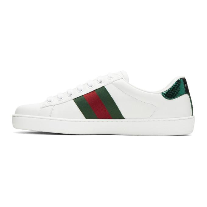 Gucci New Ace Tiger-Embroidered Leather Trainers In White