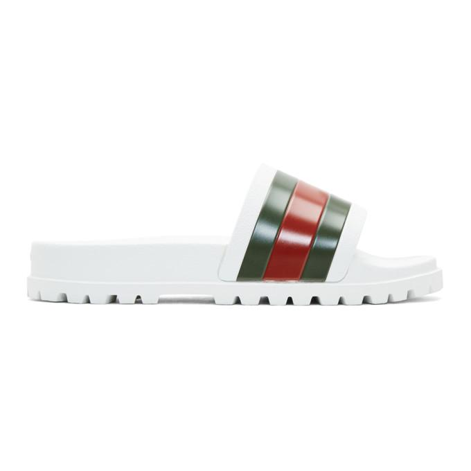 45b964d18 Gucci White Striped Pursuit Trek Slides In 9079 - White