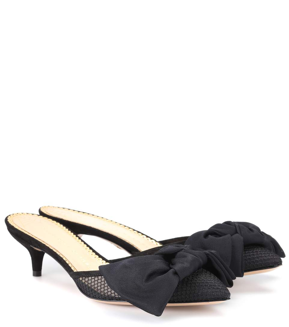 a1d193d71773 Charlotte Olympia Sophie Bow-Embellished Satin And Mesh Mules In Black