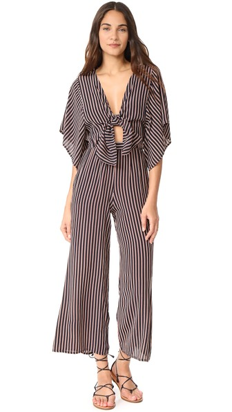 3fe0c8bb0cf4 Faithfull The Brand Tilos Stripe Knotted Jumpsuit In Red