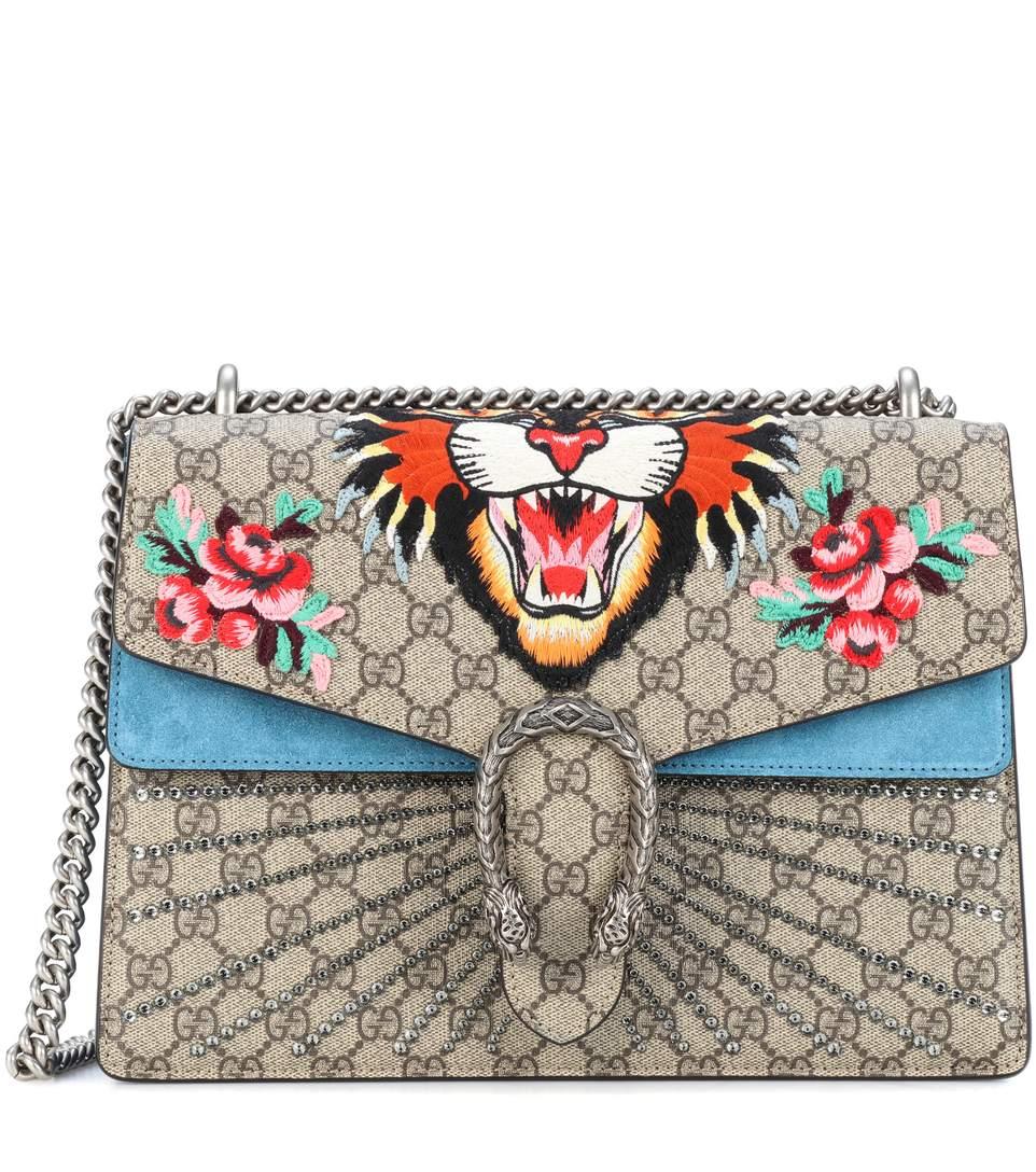 7838a0edf5ff Gucci Dionysus Medium AppliquÉD Printed Coated-Canvas And Suede Shoulder Bag  In Multicoloured