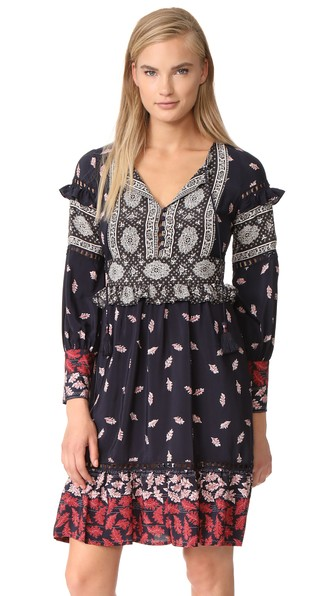 Sea Ruffle Sleeve Belted Dress In Navy/red/cream Multi