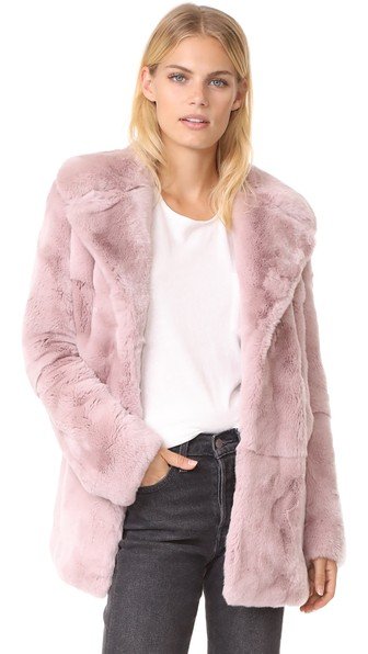 A.l.c Stone Notched-collar Long-sleeve Rabbit Fur Coat In Vintage Mauve