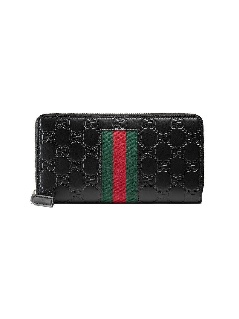 45550b8d01a Gucci Signature Web Zip-Around Wallet In Black