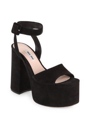 8dfcd69ce43f Miu Miu Suede Ankle-Strap Platform Sandals - Nero Size 10.5 In Black ...