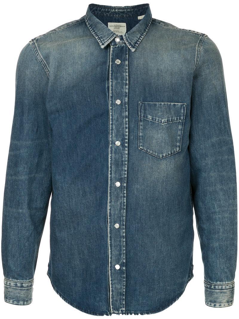 8c9fd85888d Kent   Curwen Ombré Denim Shirt - Blue