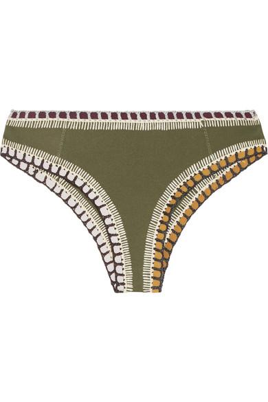 210ce7c23d10b Kiini Wren Crochet-Trimmed Bikini Briefs In Army Green