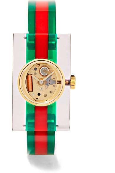 5ae05ee077a Gucci Ya143503 Fashion Capsule Plexiglas Transparent Watch In Green ...