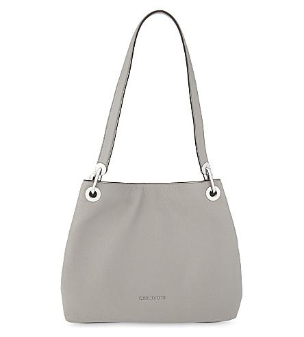 ac3d1ae53ee9 Michael Michael Kors Raven Large Leather Shoulder Bag In Pearl Grey ...