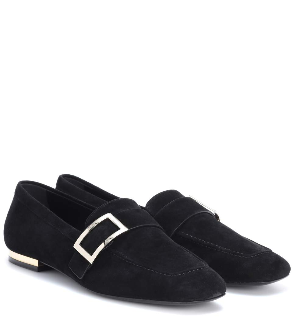 Roger Vivier Exclusive To Mytheresa.com – Metal Buckle Suede Loafers In Black