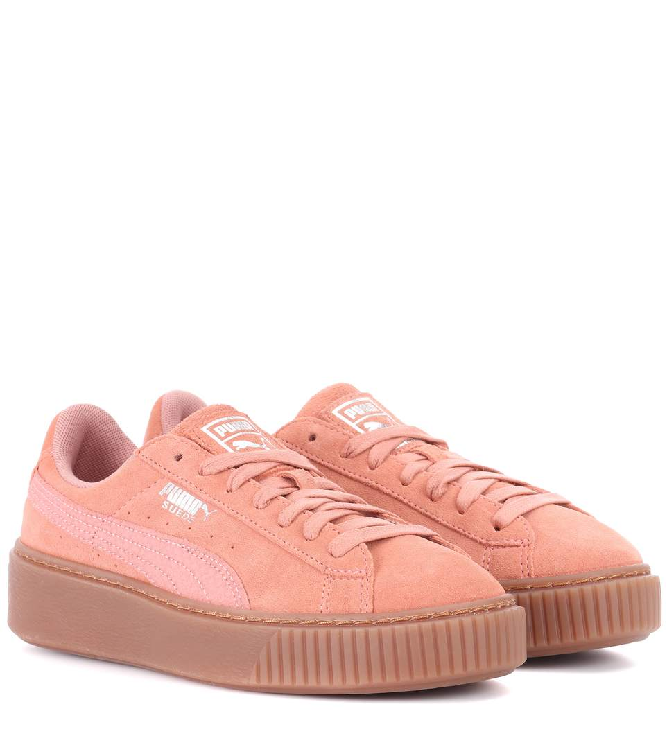 modern style best place for offer discounts Basket Platform Suede Sneakers in Pink