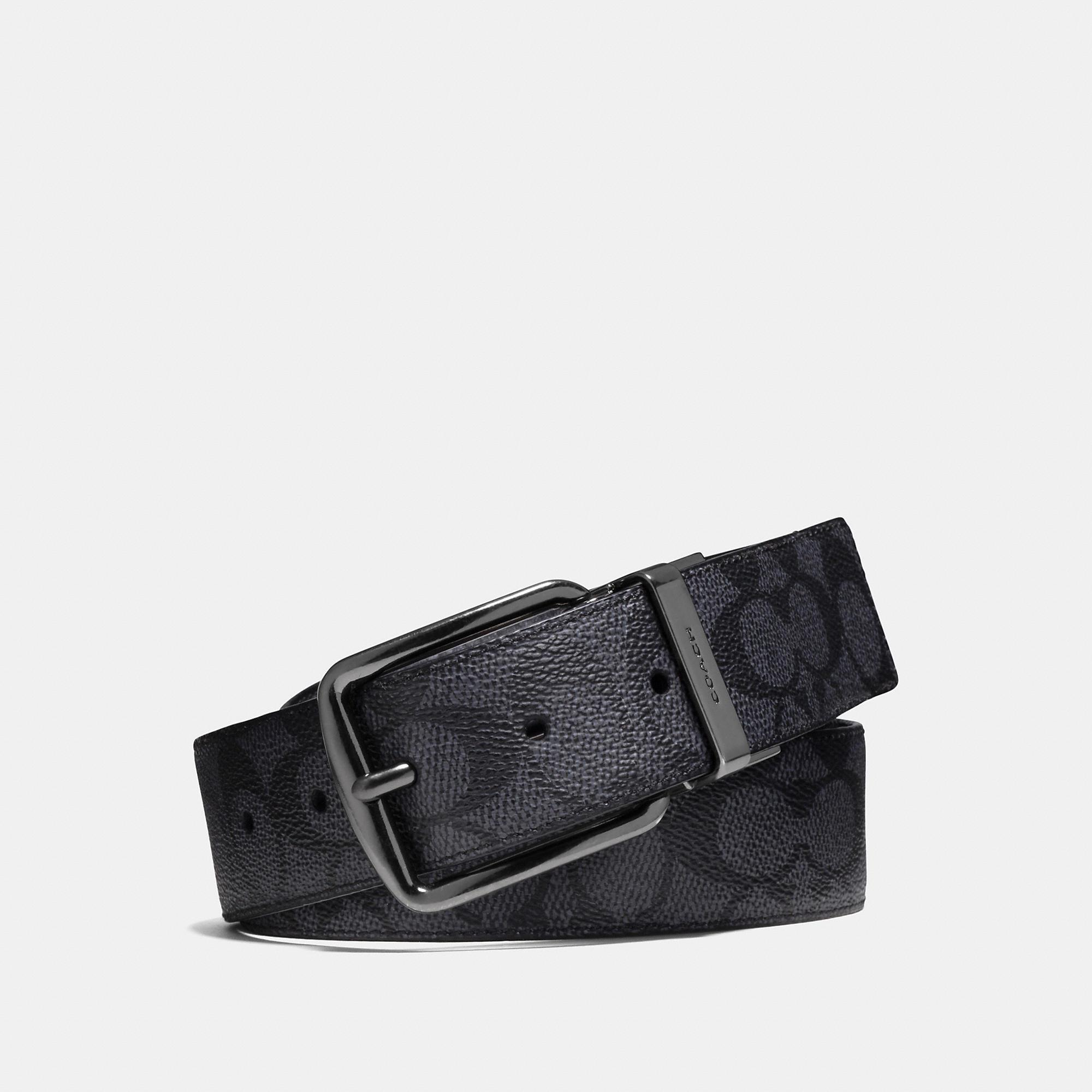 8ccdee975b119 Coach Signature Logo Leather Belt In Charcoal Black